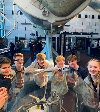 Students enjoy an exhibit at the Air & Space Museum