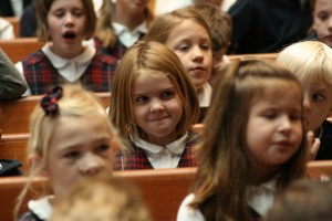 Students listen attentively during chapel