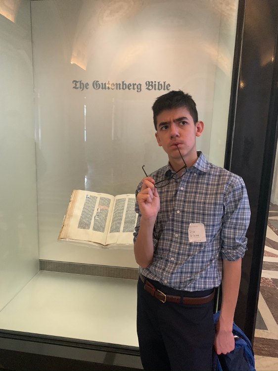 Ben Johnson pondering the history of the Guttenberg Bible.