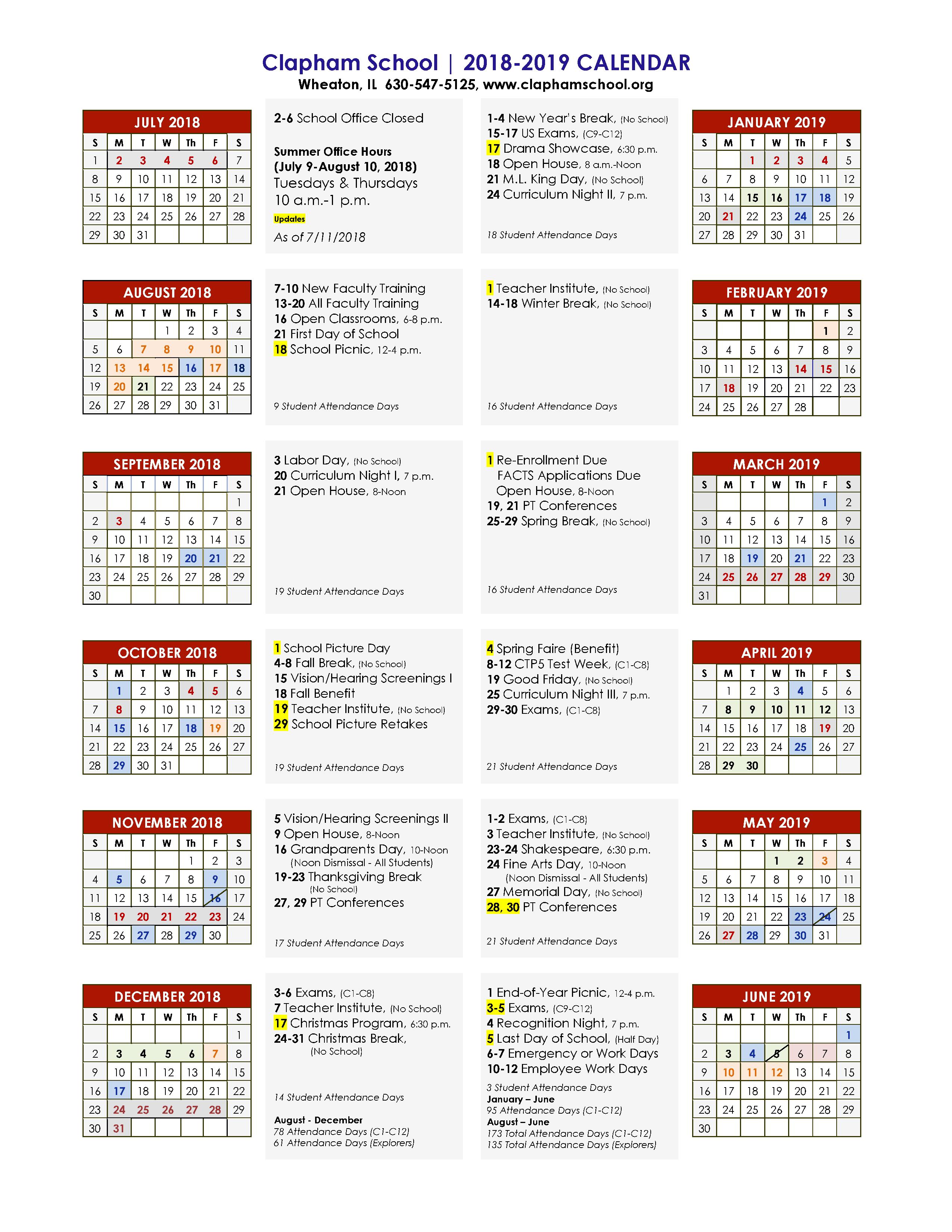 School Calendar 18-19 7-27-18