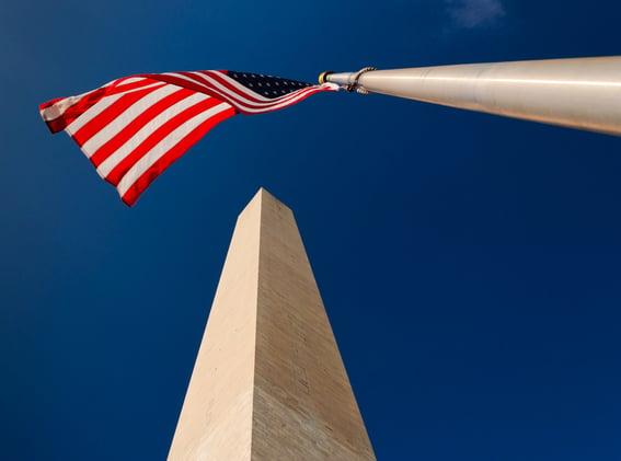 The Washington Monument and American Flag, Washington, DC
